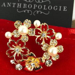 Anthropologie Crystal Flowers & Pearl Brooch